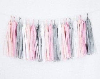 Tissue Paper Tassel Garland - Pastel pink/Vintage rose/Pale grey/White Pastel colors Birthday decorations - Baby shower - Party Centerpieces