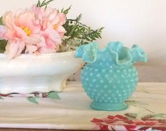 "Turquoise Milk Glass Hobnail Vase 4 1/4"" tall with Ruffled Crimped Rim - 1950s Fenton Turquoise Pastel - Blue Aqua Wedding"