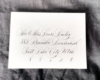 Orchid Style; Wedding Envelope Calligraphy; Hand Addresed