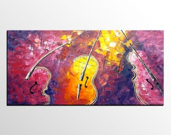 Oil Painting, Original Painting, Canvas Art, Large Painting, Abstract Art, Abstract Painting, Large Art, Wall Art, Violin Painting, Music