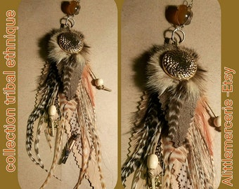 Pendant leather feathers natural jewelry