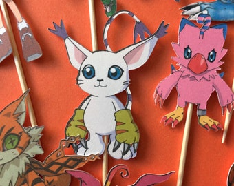 Digimon cupcake toppers, Digimon party, Digimon cake topper, monster cupcake topper, monster party, monster cake topper,digimon birthday