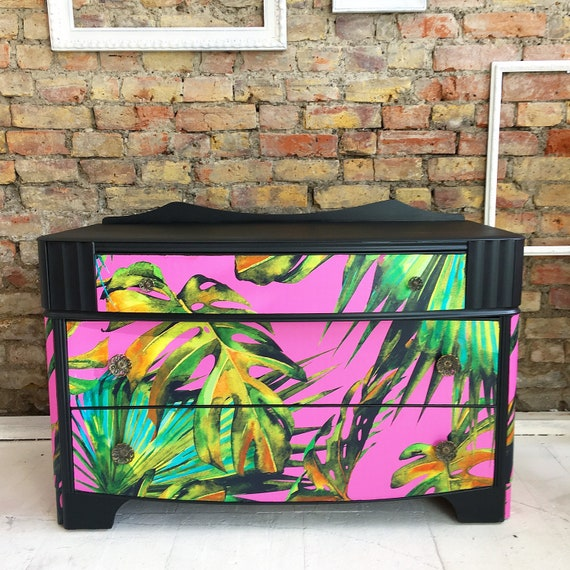 Upcycled vintage retro solid wood chest of drawers pink palms