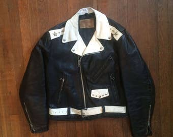 Vintage 1960s EXCELLED Custom Painted & Studded Black Leather Biker MOTORCYCLE JACKET Size Medium Large Buco Harley Davidson Hells Angels