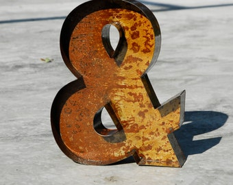 "20"" / 50cm Rusted Metal Letters Vintage Old Sign Letters All Characters Available - Hand Made in UK"