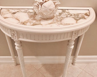 Antique French Marble Top Demilune Table