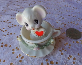 Vintage Enesco Japan Porcelain Mouse in a Cup Tiny Figurine Measures 2 1/2 inches in height Japan Vintage