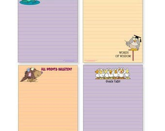 Four Funny Note Pad Assorted Pack - Great Gift Set - 4.25 x 5.5in - 50 Sheets Per Pad - 602