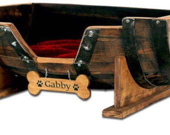 """2 - dog beds (golden oak) one to say """"Judge"""" one to day """"Summer"""""""