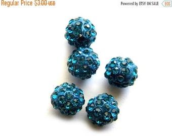 HALF PRICE 10 Turquoise Rhinestone Disco Ball Beads 10mm