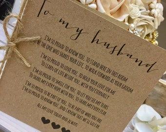 Vintage/Rustic 'To My Husband' Same Sex Marriage Wedding Day Poem Card-show him how special he is!