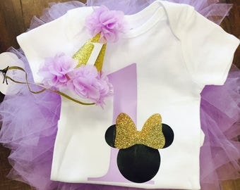 First Birthday Minnie Mouse Purple