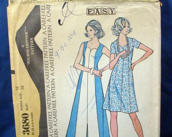 Vintage McCalls Pattern 3680, Misses Dress, 1973, Size 16