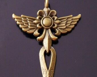 1x Large Angel Wings Sword Cross Antique Bronze Charm Pendant 47mm (TSC102A)