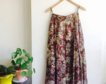Vintage midi rok   midi rok   vintage floral skirt   floral skirt   size S/M  high waist vintage skirt   vintage midi rok   floral skirt 