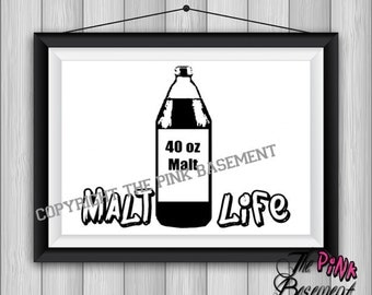 "UNFRAMED 15"" x 11"" Malt Life Salt FunnyBest friend Co worker Black White Picture Wall Art Artwork inspiration Hanging Sign Gift quote quotes"