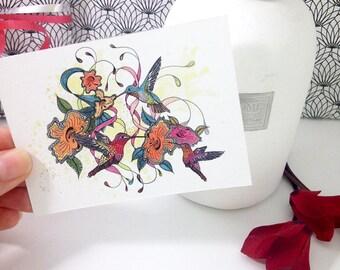 Tiny art prints of a hummingbird painting, Mini art print 3x4 inch, boho decor