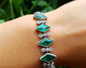 FLASH SALE!. Stunning Art Deco Sterling 835 Glass Bracelet