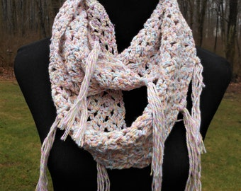 crochet infinity scarf with fringe, handmade cotton wrap, pastel colors, Spring Summer accessory
