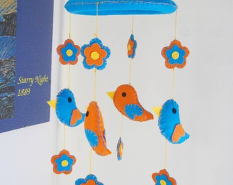 Felt Baby Mobile. Birds and Flowers Mobile. Orange and Blue Mobile. Felt Mobile.