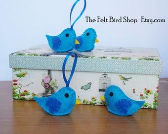 Blue birds of Happiness. Mini felt blue birds. Felt Birds. Felt Baby Birds.