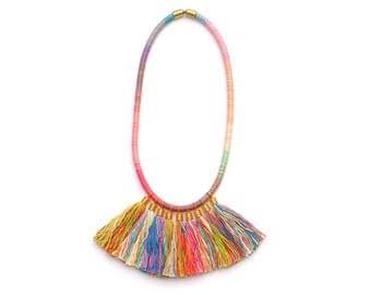 Big Tassel Necklace, Fringe Necklace, Colorful Boho Tassel Necklace, Statement Necklace, Textile Necklace, Summer Necklace, Tassel Jewelry