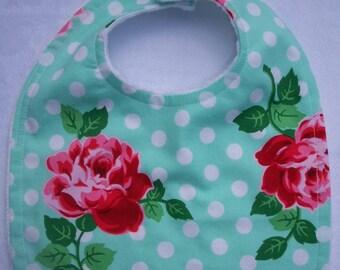 Baby Girls Bib Polka Dots And Roses Ready To Ship