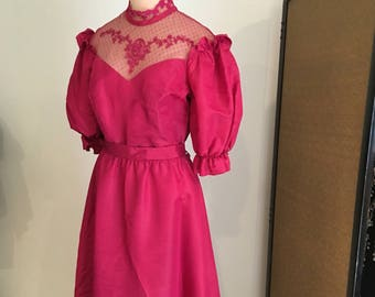 Taffeta & sheer Lace Victorian Dress/wine red gown vintage 70s prom dress/high collar Long sleeve Evening dress women m formal edwardian