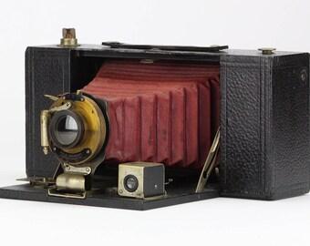 Antique 1909 Kodak 3A Folding Brownie Model A Camera w/ Red Bellows – Home Decor & Collector Piece