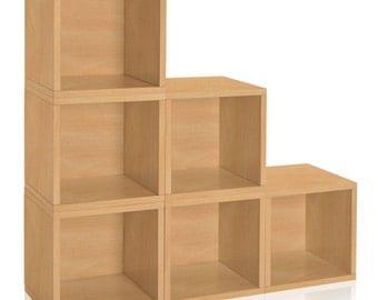 Vinyl Record Storage Cube   Stackable LP Record Album Storage Shelf Natural    Fits 70 Records