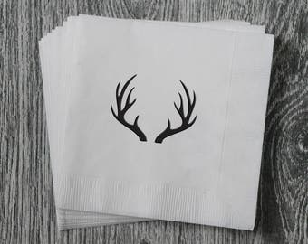 Antlers Silhouette - Foil Stamped Hand Printed 3-ply Napkins - Set of 10