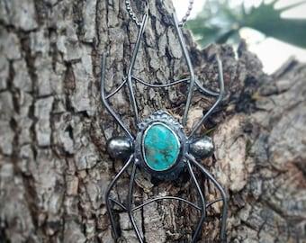 Turquoise spider pendant