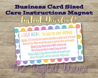 INSTANT DOWNLOAD: Clothing Care Instructions Magnet - Clothing Business Care Card - Care Instructions Business Card - Digital Download