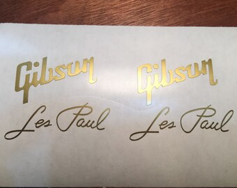 Gibson Les Paul Replacement Headstock Decals x2, Gibson Guitar, Gibson Logo, guitar headstock decal stickers