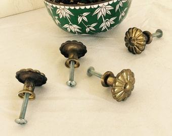 Vintage brass drawer pulls knobs furniture decor tools