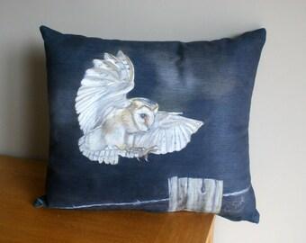 Flying Own At Night Wildlife Art Cushion By Artist Grace Scott