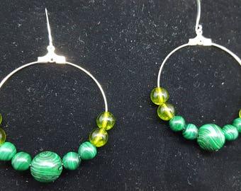 Malachite and Peridot Hoop Earrings