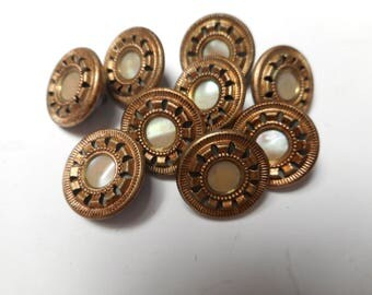 9 Antique Matching Brass Button Lot MOP Pearl Center Victorian Buttons 9/16""