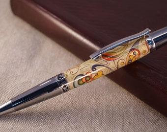 Florentine Paper Ballpoint Pen in Titanium and Platinum