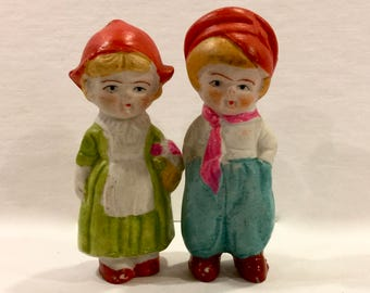 Vintage Bisque Dolls, Set of 2, Boy and Girl Dolls, Porcelain Frozen Charlotte, Penny Doll, 2 7/8 inches Tall, Made in Japan, Circa 1930s