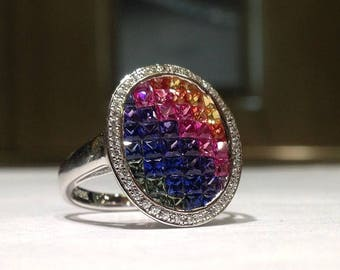 3.00 Carat Rainbow Sapphire Ring in 925 Sterling Silver