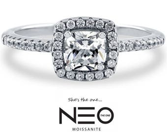 1.00 Carat Moissanite Cushion Cut NEO Halo Ring ( with NEO Warranty card)