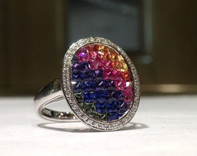 Featured listing image: 3.00 Carat Rainbow Sapphire Ring in 925 Sterling Silver