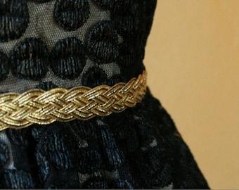 Gold Bridal Belt, Gold Braided Bridesmaid Belt
