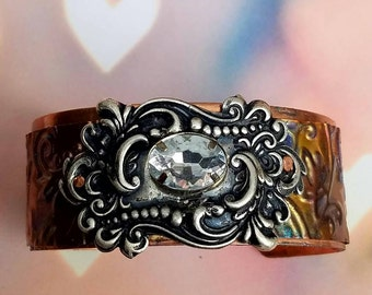 Copper and Silver Embossed Cuff