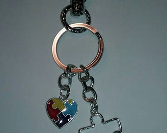 Autism Puzzle and Heart Key Chain