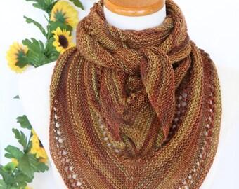 Triangle scarf, fall colors, brown and gold kerchief, bandana, merino wool shawl