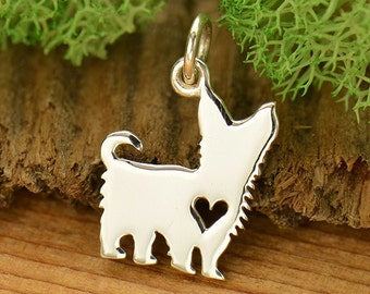 Sterling Silver Yorkshire Terrier Charm. Yorkshire Terrier Gift. Yorkie Charm.