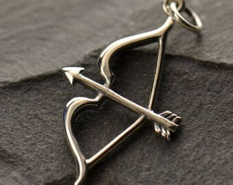 Bow and Arrow Charm. Sterling Silver or Bronze