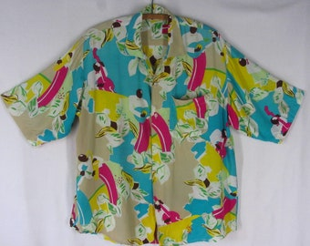 Vintage 90s Camp Shirt L Bennetton Blue Rayon Musician Print Short Sleeve